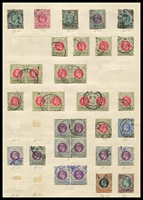 Lot 4376:1902-03 KEVII Wmk Crown/CA SG #128-35 1d, 1½d x3, 2d x15, 2½d, 3d x11 (incl block of 4), 5d & 6d, Cat £50+, odd fiscal cancel. (33)