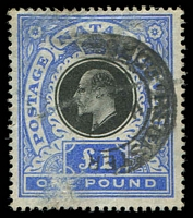 Lot 4411:1902 KEVII High Values SG #142 £1 black & bright blue, Cat £65, fiscal cancel & some surface abrasions.