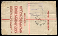 "Lot 1445 [2 of 2]:Spit Junction: - 'SPIT JUNCTION/3MR45/N.S.W-AUST' on 5½d Registration Envelope with 'SPIT JUNCTION/""449""' on selvedge in lieu of registration label.  PO 17/5/1926."