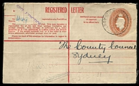 "Lot 6345 [1 of 2]:Spit Junction: - 'SPIT JUNCTION/3MR45/N.S.W-AUST' on 5½d Registration Envelope with 'SPIT JUNCTION/""449""' on selvedge in lieu of registration label.  PO 17/5/1926."