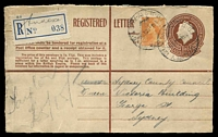 "Lot 6391 [1 of 2]:Sydney: - 'G.P.O. SYDNEY 126/415A-6DE56/N.S.W-AUST' (better backstamp) on 6½d on 1/0½d Registration Envelope with ""Annexe"" on blue provisional label. [The Annexe was at Yurong St.]  PO 25/4/1809."