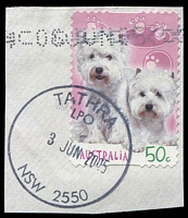 Lot 6290:Tathra: - 'TATHRA/LPO/3JUN2005/NSW 2550' on 50c Puppies.  PO 20/11/1882.
