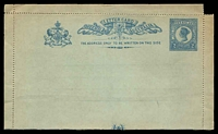 Lot 1322:1895 QV Greenish Paper 2d blue, regular perfs, HG #A1 perfs and guillotining 12mm out of alignment, small faults.