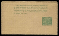 Lot 1420:1892 QV With Lined Background HG #E1 ½d green, wove cream paper, end of text above S of QUEENSLAND, no gum,/.