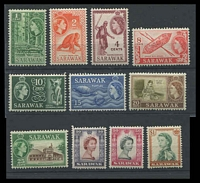 Lot 4341:1955-59 QEII Pictorials SG #188-202 short set to $1, Cat £30, excludes 6c & 12c, 30c has short perf at BLC (11)