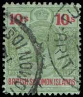 Lot 4316:1914-23 KGV Wmk Mult Crown/CA SG #37 10/- green & red, Cat £65.