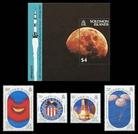Lot 24487:1989 Moonlanding Anniversary SG #652-6 set of 4 & M/S.