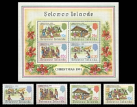 Lot 4435:1991 Christmas SG #703-7 set of 4 & M/S.