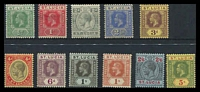 Lot 4324:1912-21 KGV Wmk Mult Crown/CA SG #78-88 set of 9, Cat £75, toned perfs on 6d & toned gum on 2½d.