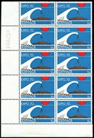 Lot 608:1970 Expo BW #517za 5c turquoise-blue cylinder left pane sheet number block of 10 (2x5), unit 7/1 with Retouch in blue at top right.