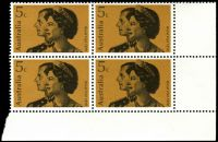 Lot 609:1970 Royal Visit BW #519d 5c, BRC block of 4, right units showing Top of tiara extends beyond top frame.