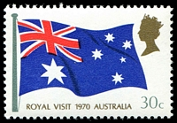 Lot 576:1970 Royal Visit BW #520d 30c Retouches on flag left and right of star [RP 3/1], Cat $25.