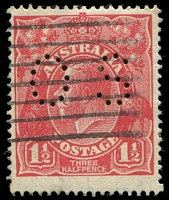 Lot 348:1½d Red Die I - [23L30] Scratch running from base of left value shield, through shading lines and into lower frame perf 'OS'.