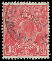 Lot 2714:1½d Red Die II - [3L30] Solid bar for top of crown, left half of bottom frame thinned etc