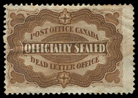 Lot 3427:1879 Officially Sealed Uni-Safe #OX1 yellow-brown P12, Cat $70 for no cancel, creased as usual, small thin.