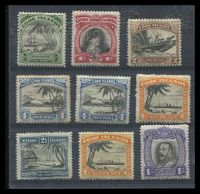 Lot 3355:1932-36 KGV Pictorials SG #99-112 mixed set to 1/- with No Wmk P13 ½d, 1d & 2d, No Wmk P14 4d x2 & 6d & Wmk 2½d, 6d & 1/- (small thin), Cat £60.