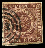 Lot 3414:1852 Thiele Printing SG #4 4rbs purple-brown, 4-margins, Cat £37.