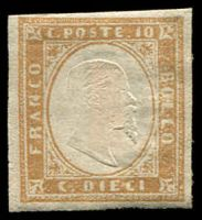 Lot 23780:1855-63 Victor Emmanuel II Embossed SG #38 10c ochre-yellow 4-margins, Cat £110, home-made hinge.