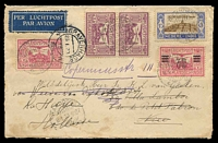 Lot 26105 [1 of 2]:1931 (Jan 8) use of 10c x2, 30c green surcharge, 40c & 15c Child Welfare on 7th flight to Holland, part of back removed.