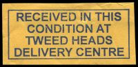 Lot 1085:Tweed Heads Delivery Centre: blue boxed 'RECEIVED IN THIS/CONDITION AT/TWEED HEADS/DELIVERY CENTRE' on piece from cover dated 9/1/2006.