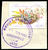 Lot 7138:Urbenville: - '* MONEY ORDER TELLER */11JUN1992/URBENVILLE/N.S.W./2475' on 45c.  PO 1/4/1910.