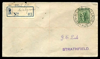 "Lot 1462 [1 of 2]:Wallgrove Mil. P.O.: - 'MIL.P.O.WALLGROVE/5FE40/N.S.W.-AUST.' (Opening Day - arcs 2,2) on 4d on Leek cover with mss ""Mil P.O./Walgrove"" (sic) on provisional registration label 'No 03'.  PO 5/2/1940; closed 14/9/1946."