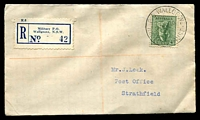 Lot 7556 [1 of 2]:Wallgrove Mil. P.O.: - 'MIL.P.O.WALLGROVE/5AP40/N.S.W-AUST' (arcs 1,1) on 4d on Leek cover with blue registration label. [The first offered by us]  PO 5/2/1940; closed 14/9/1946.