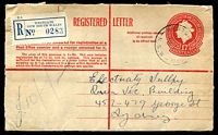 Lot 1210 [1 of 2]:Westgate: - 'WESTGA[TE]/131JY57/N.S.W-AUST' (B1 backstamp) on 1/7d Registration Envelope with blue label.  Renamed from South Annandale PO 1/5/1937.
