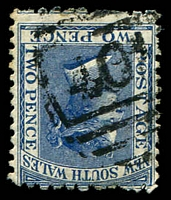 Lot 1056:401: BN (4B) on 2d blue. [Rated SS]  Allocated to Warkworth-PO 1/11/1863; closed 30/11/1968.