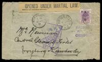Lot 26285 [1 of 2]:1901 (Jul 6) use of 1d on 1d on cover from Kroonstad to Kimberley then redirected to Vryburg, 'OPENED UNDER MARTIAL LAW.' label at top and Kimberley trinagular 'PASSED PRESS/CENSOR handstamps on face, also 'PASSED/R.   [?]/CENSOR