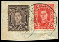 Lot 27317:Higaturu: 'HIGATURU/6NO50/[PAPUA - NEW] GUINEA' (large letters) on 3d brown & 2½d red.  PO 1/6/1946; closed 21/1/1951.