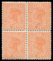 Lot 1508:1895 Lined-Oval No Wmk Burelé Band Perf 12½,13 SG #206 1d vermilion-red block of 4, top right unit with LA joined.