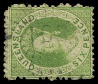 Lot 1158:102: light rays on 1868 6d green Chalon. [Rated 2R by Manning]  Allocated to Rockhampton-PO 1/4/1858.