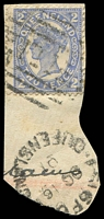 Lot 1525:111: BN on 2d 4-Corners on piece tied by unframed 'ISISFO[RD]/OC16/01/QUEENSLAND' (B2).  Allocated to Isis Downs-PO 1/6/1868; replaced by Wittown PO c.1876; renamed Isisford PO 1/1/1878.