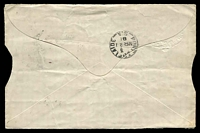 "Lot 1595 [2 of 2]:1881 (Mar 21) use of 1d green x2 on home-made 'Banker's Envelope' from Adelaide to Port Adelaide. Endorsed ""Invoice only/..."". An additional message has been written on the inside of the top flap. Small tears at top from opening. Interesting example of printed matter rate."