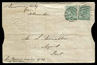 "Lot 1595 [1 of 2]:1881 (Mar 21) use of 1d green x2 on home-made 'Banker's Envelope' from Adelaide to Port Adelaide. Endorsed ""Invoice only/..."". An additional message has been written on the inside of the top flap. Small tears at top from opening. Interesting example of printed matter rate."