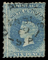 Lot 2046:1867-70 Perf 11½-12½xRoulettes SG #56 6d bright pale blue, Cat £19, typical poor centring.