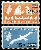 Lot 4178:1971 Decimal Surcharges SG #29-30 15p albatross & 25p seals, Cat £11.