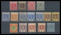 Lot 27807:1921-30 KGV Wmk Multi Script CA SG #91-104 1d to 2/6d with both shades of 2½d, 3d blue & 3d purple on yellow & extra shade of 1/- orange-brown, Cat £100, 2½d dull blue has aged gum. (16)