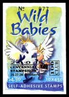 Lot 929:2001 $4.50 Wild Babies BW #B263 general stock barcode ovpt'd for '100 Club' of 2001 Centennial Stampshow, (Pfeffer #B240 a (2), Cat $200).