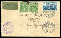 Lot 1133:1934 New Zealand - Australia Boomerang AAMC #360 'FIRST TRANS-TASMAN/NEW ZEALAND/FEB. 1934/AUSTRALIA/AIR MAIL' (A1) cachet in purple on plain cover, franked with 7d light blue air mail with Trans-Tasman overprint, cancelled 'MOTUEKA/31JA34.6/NZ', 1d green KGV pair used for return to NZ, part flap missing.