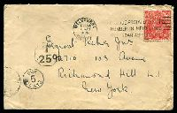 Lot 5237 [1 of 2]:1928 use of 1½d red KGV on cover to USA, underpaid & taxed, fine instructional handstamp on back asking the addressee to advise the sender that they have underpaid the postage.