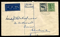 "Lot 5299:1944 (Nov 13) use of 5½d & 4d on air cover from Melbourne to Canberra, endorsed ""SPECIAL/DELIVERY"". Rare."