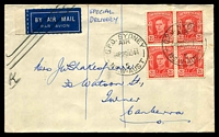 "Lot 4628:1944 (Nov 26) use of 2½d x4 on air cover from Sydney to Canberra, endorsed ""SPECIAL/DELIVERY"", overpaid by ½d and airmail label crossed out so presumably overpaid for that service as well! Rare."