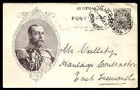 "Lot 397:1911 1d KGV Fullface Coronation BW #P9(1)B sepia with Portrait of KGV in oakleaf oval, portrait type 3, buff back, cancelled with 'CLAREMONT/12-P10JE11/WESTERN AUSTRALIA', The sender's address is ""Wireless Telegraph Station""."