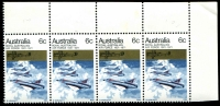Lot 614:1971 RAAF BW #558e,f 6c multi-colour TRC marginal positional strip of 4 with Blue dot behind lower jet & Blue dot behind third jet [UP 1/7,10], minor toning in margin, Cat $20+.