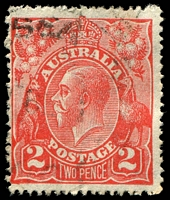 Lot 379:2d Red Die I - [10L55] Thick protruding BLC and spot in left frame in centre of upper projecting point