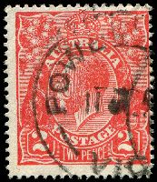 Lot 2221:2d Red Die I - BW #96(13)d [13L35] Broken top to crown, partially obscured by pmk, Cat $18.