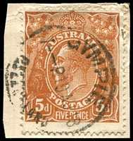 Lot 271:5d Chestnut Die I Smooth Paper Comb Perf - [1L19] Notch in band below ST of POSTAGE etc, on piece.