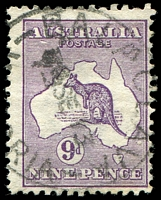 Lot 791:9d Violet - BW #24(1)e [1R30] Break in left frame opposite A and white flaw below AU, Cat $175, cancelled with 'BALACLAVA/?SE13/[VICTO]